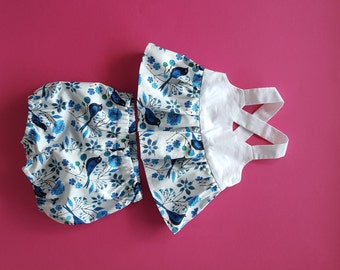 Baby girls top & bloomers // ensemble // blue birds // organic // hippy baby // baby gift // baby shower