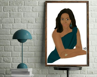 Flotus | BLACK art POSTER | A3 | A2 | A1 | A0 | afro ethnic print | Fine art | Multicultural | Black girl magic | Eclectic Gift | Obama