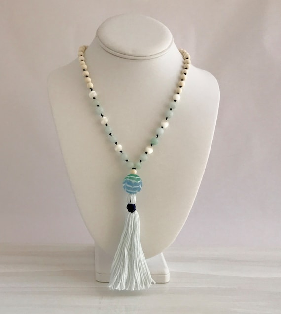 Jade and white wood mala; blown glass drop with cotton tassel, hand knotted, prayer beads, yoga beads