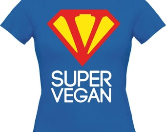 SUPER VEGAN - Women's basic shirt - BLUE