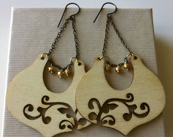 Golden Pyrite on Wooden charm sterling Earrings- Handmade, semiprecious,mother's day,holidays,
