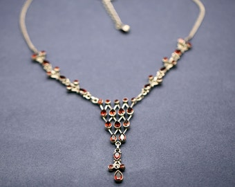 Evening Necklace party Necklace in 925 sterling silver set with natural garnets