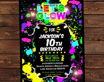 Glow in the dark invitations - DIY Glow party invitations - Glow in the dark invite- Digital Printable Invitation #DPI1301