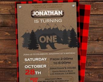 Lumberjack birthday invitation - Lumberjack first invitation - Buffalo Plaid Invitation - One Lumberjack - Editable PDF #DPI187363219