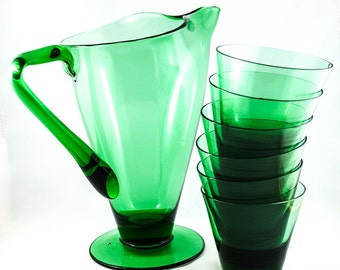 Emerald Glass Pitcher and Glasses Set