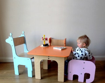 MULTIPLE ITEMS: Toddler elephant chair + Giraffe/ Whale/ Stag/ Brontosaurus Children's Chair and Table
