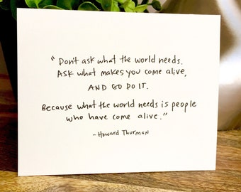 10 blank notecards, Hand Lettered Blank Notecards, Howard Thurman quotes, Howard Thurman, Come alive, blank notecard, 10 blank card set