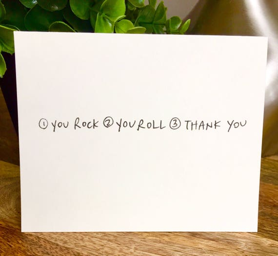 Set of 10 cards, thank you card set unique style, simple thank you card, handlettered stationery, You rock thanks, rock n roll thank you