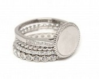 Sterling Silver Engraved Stackable Ring Set