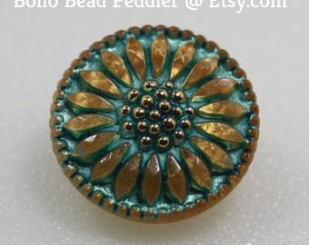 Czech Glass Button, Dasiy Flower, Small, 18mm