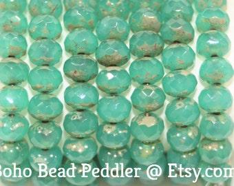 Czech Glass Beads, Rondells 7x5mm, 25 Beads