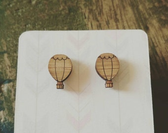 Bamboo hot air balloon earrings