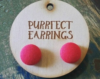 Handmade cute 12mm pink button earrings