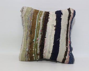 Cotton Striped Pillow 20x20 Fllor Pillow Decorative Striped Pillow Sofa Pillow Ethnic Pillow Kilim woven Pillow Cushion Cover SP5050-1104