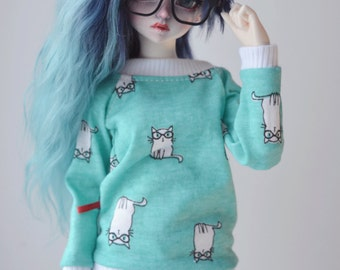 Mint kitty T-shirt for bjd slim MSD 1/4 Minifee SALE