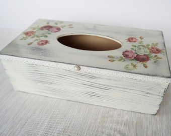 Floral Tissue Box Cover, Christmas Gift for Mom, Kleenex Box, Wooden Tissue Box Cover,  Bathroom Decor