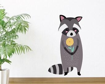 Raccoon & His Flower Wall Decal