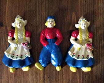 Vintage ChalkWare Chalk Ware DutchBoy DutchGirl Dutch Boy Girl MilkMaid Holland Wall Hangings Blue Red Yellow Clogs Kitchen MidCentury Prop