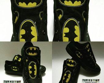 Batman converse shoes, custom black sneakers, kids birthday party, superhero kicks