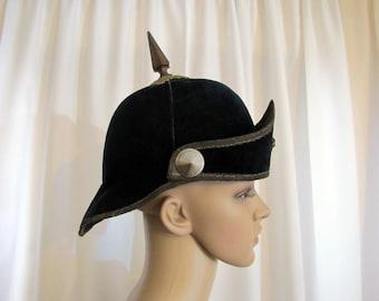 Antique Prussian Pickelhaube Velvet, Pickelhaube, Velvet, Navy Blue, Helmet Hat, Ceremonial, Helmet, Hat, Theater, Spiked Helmet, Kaiser