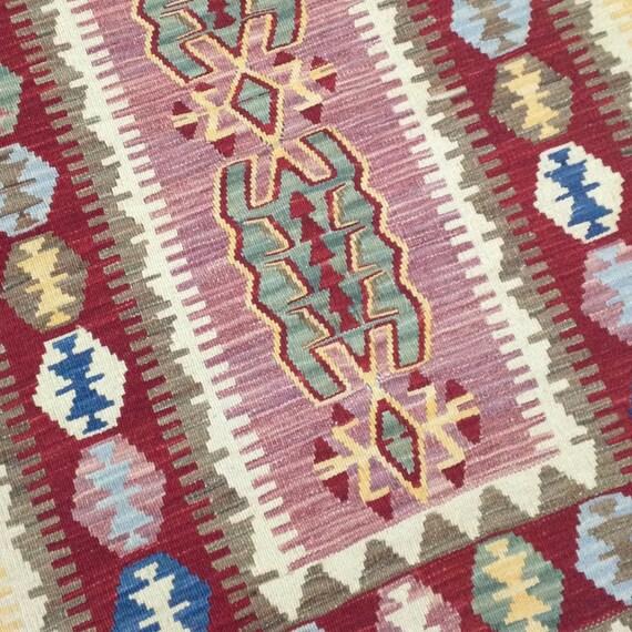 Pink Rug Small Area Rug Bedside Rug Kilim For Bedroom Decor