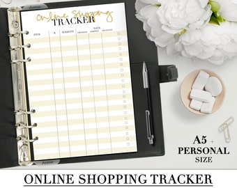 Printable ONLINE SHOPPING TRACKER insert for your Personal and A5 planner+ Franklin Planner_Two inserts for the price of one!