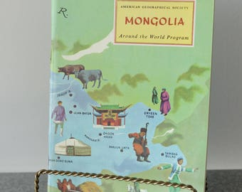 Rare Mongolia Travel Booklet 1972 American Geographical Society Unused Stickers Included Around the World Travel Guide