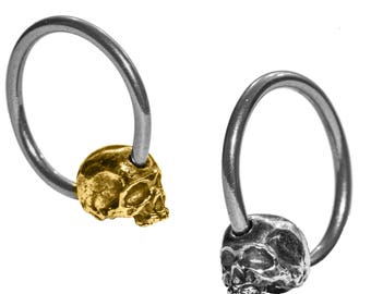 """Skull earring captive bead ring CBR 7/16"""" 16g"""