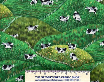 Michael Miller Fabrics - COWFIELD - Cows Grazing in the Field - Farm - Novelty - Quilt Shop Quality Fabric - 100% Cotton