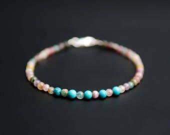 Turquoise & Tourmaline Bracelet, Genuin Tourmaline Gemstone Bracelet, Delicate Turquoise,  Beaded Multi Gemstone Stacking Bracelet Jewelry