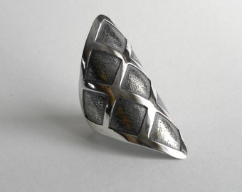 Handmade open sterling silver diamond shaped ring
