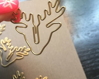 Deer Gold Tone paperclips- set of 2