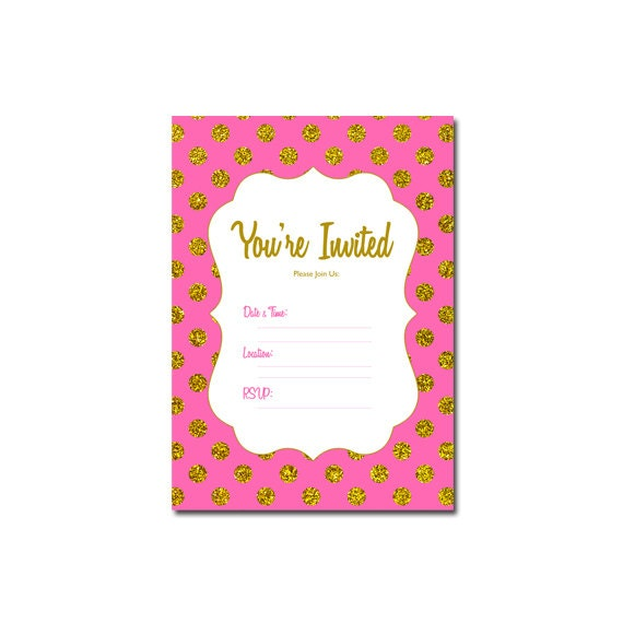 gold fill in blank party invitations printable gold printable invitation hot pink gold glitter birthday blank printable invites - Blank Party Invitations