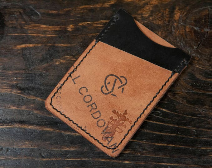 Black Shell Cordovan Minimalist Wallet with Reverse Shell Front Pocket - Handstitched
