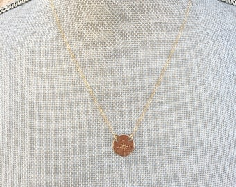 Hammered charm necklace // Gold Filled // handstamped
