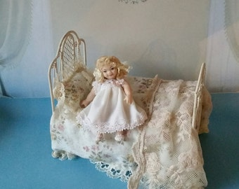 Madeline dollhouse girl in night gown porcelain miniature doll scale 1:12
