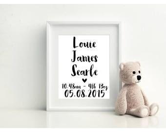 Personalised Name and Birth Print