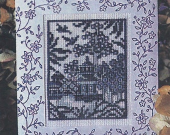 """lot of (5) Design Works """"Blue Willow"""" counted cross stitch greeting card kits #980"""