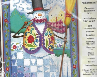 "Design Works ""Snowman "" jeweled banner kit #4138"