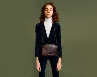 TIMI Crossbody Leather Bag Croco