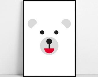 Polar Bear Print, Nursery Animals, Minimal Illustration, Baby Children Kids Room Wall Art, Printable Large Poster, Digital Instant Download