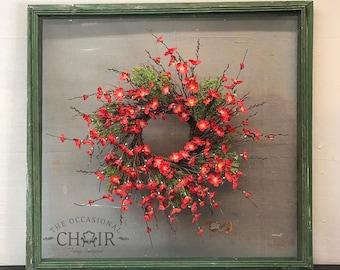 Farmhouse Wall Decor - Reclaimed Window Screen Wreath