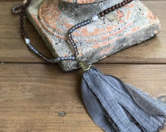 Gray Fabric Tassel Necklace