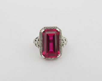 Vintage Sterling Silver Ruby Filigree Ring Size 8