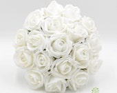 Artificial Wedding Flowers, White Bridesmaids Bouquet Posy with Diamante Rose Centres