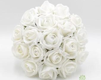 Artificial Wedding Flowers, White Bridesmaids Bouquet Posy with Diamante Rose Centres