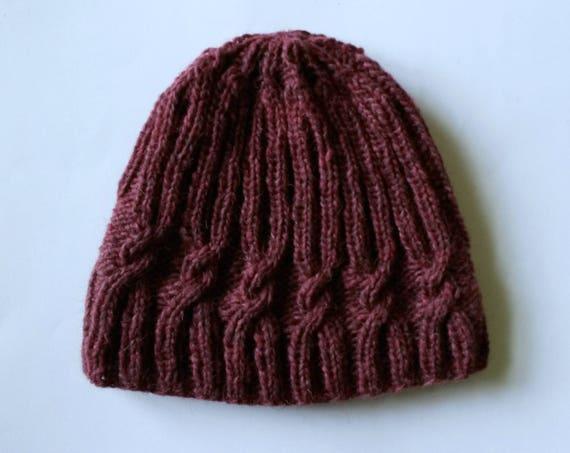 Knit beanie: original design with spiral cable. Handspun Irish wool. Made in Ireland. Wine red handknit hat. Men's beanie. Women's beanie.