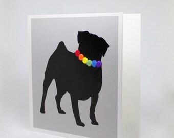 Pug animal card with rainbow felt necklace