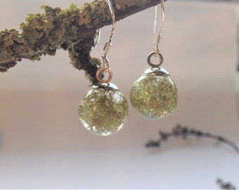Lichen drops with eco resin, handmade in Ireland, botanical earrings, sterling silver earrings, nature inspired, unique gift, mint green