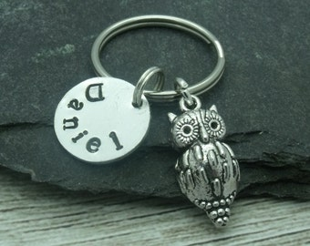 Owl hand stamped keyring, owl keychain, owl keyring, personalised owl gift, name gift, custom name word text